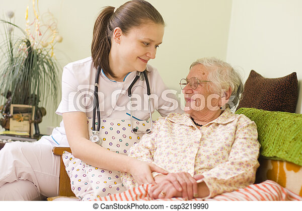 Helping a sick elderly woman - csp3219990