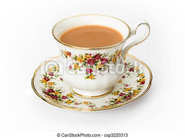 English tea in a bone china cup - csp3220313