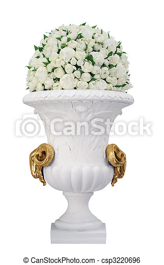 Vase with roses isolated on white background - csp3220696