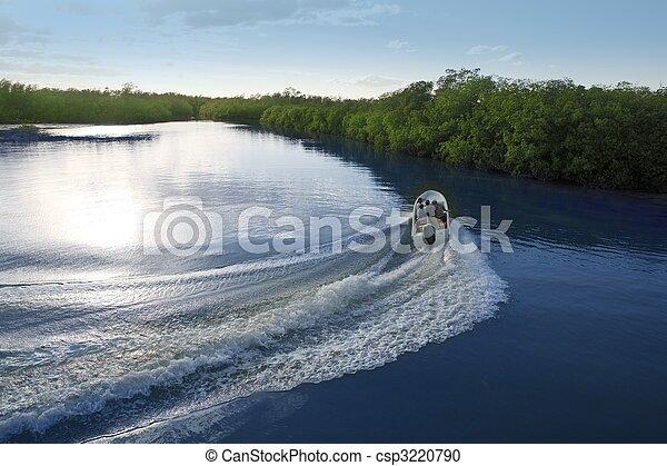 Boat ship wake prop wash sunset lake river - csp3220790