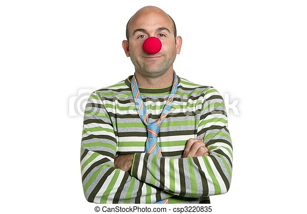 Actor clown posing clown nose and tie - csp3220835