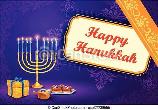 Clipart Vector of Israel festival Happy Hanukkah background ...