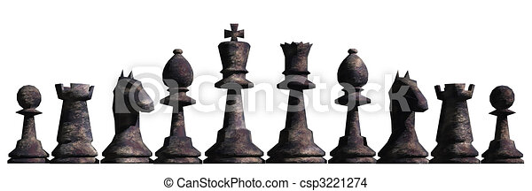 Drawing of Chess Border - Illustration of chess pieces lined up as ...