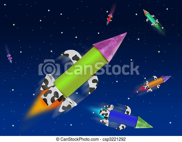 Colorful fantasy rocket flying into blue space - csp3221292