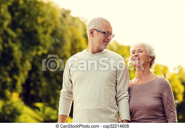 senior couple in park - csp32214608