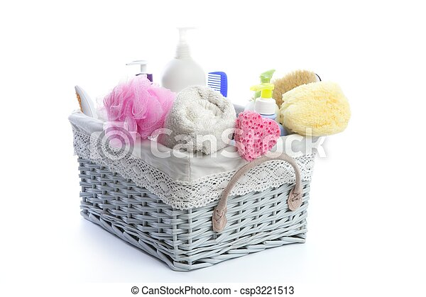 Bath toiletries basket with shower gel - csp3221513