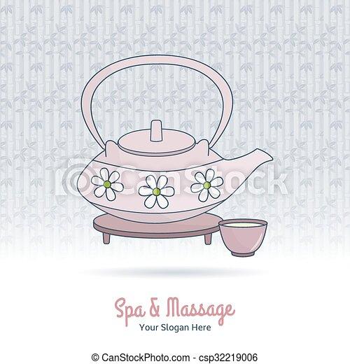 Hand drawn Thai massage and spa design elements. - csp32219006
