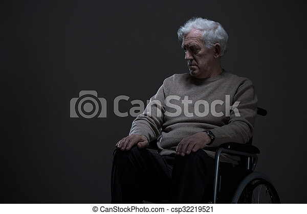Disabled and lonely old man - csp32219521