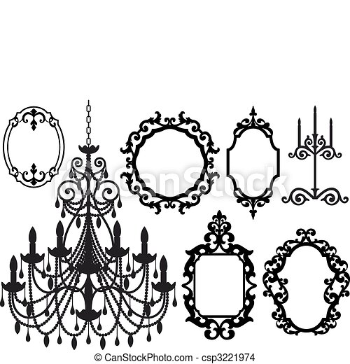 picture frames and chandelier - csp3221974
