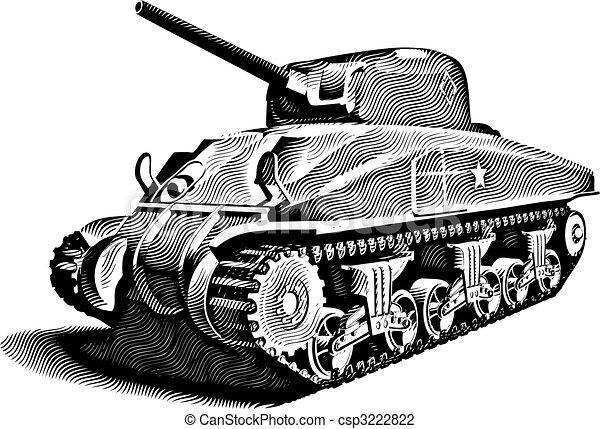 American Tank_engraving - csp3222822