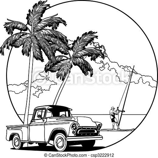 Hawaiian vignette bw - csp3222912