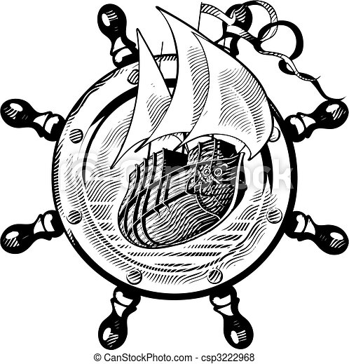 Ship & wheel_engraving - csp3222968
