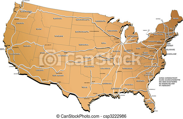 USA railway map - csp3222986