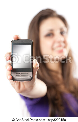 Brunette with mobile phone or PDA - csp3223150