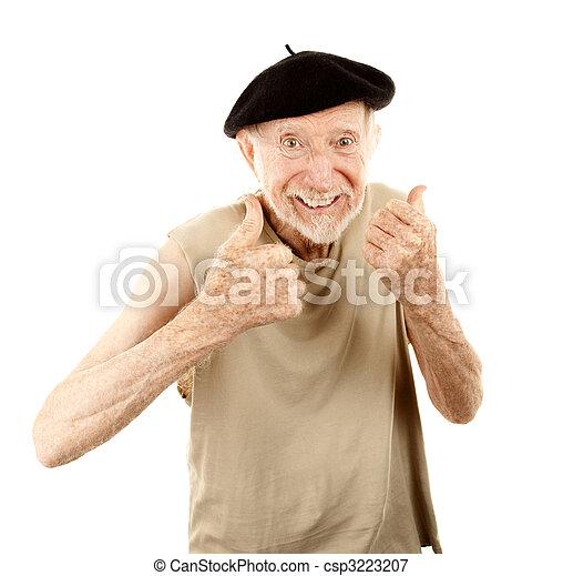 Senior man in beret - csp3223207