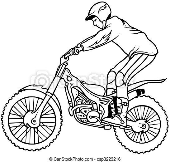 Illustration de motocross main dessin illustration - Dessin moto trial ...