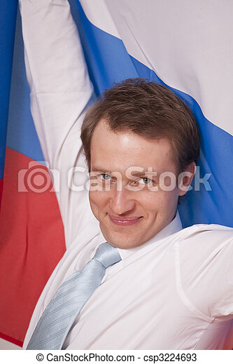 fanatic man with russian flag - csp3224693
