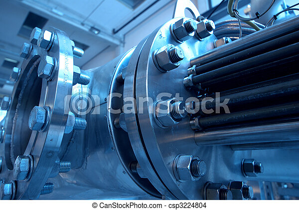 Pipes, tubes, machinery and steam turbine at a power plant - csp3224804