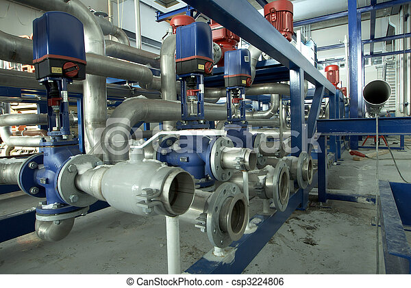 Equipment, cables and piping as found inside of a modern industrial power plant             - csp3224806