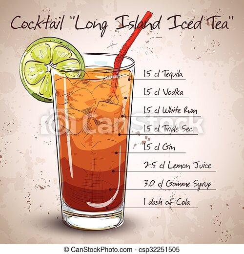 Vector Clipart of Cocktail Long Island Iced Tea Vodka ...