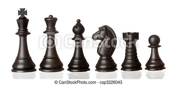 Black chess pieces in order of decreasing - csp3226043