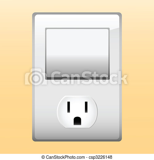 Electric outlet and light switch. - csp3226148
