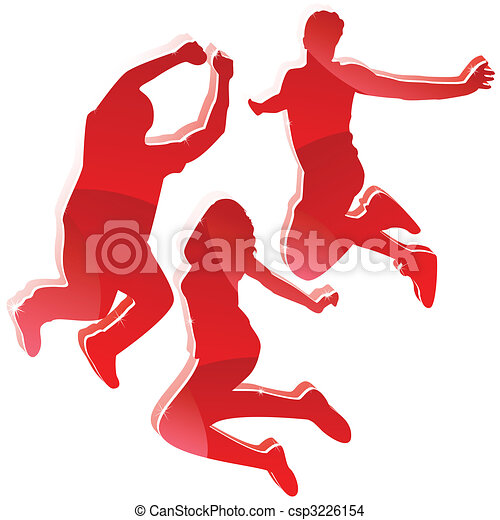 Red Glossy Silhouettes 3 Friends Jumping. - csp3226154
