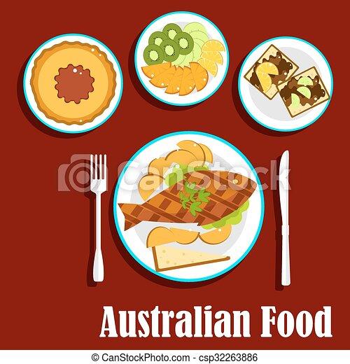 Vector of fresh australian cuisine dishes flat style australian csp32263886 search clip for Australian food cuisine