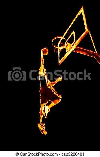 Fiery Basketball Slam Dunk - csp3226401