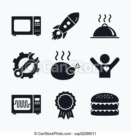 Vector Clip Art of Microwave oven icon. Cooking food serving ...