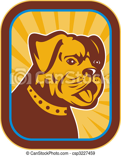 Bulldog and Boston Terrier hybrid done in retro style. - csp3227459