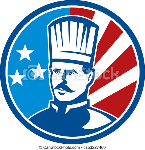 American Chef cook baker with stars and stripes set inside a circle - csp3227460