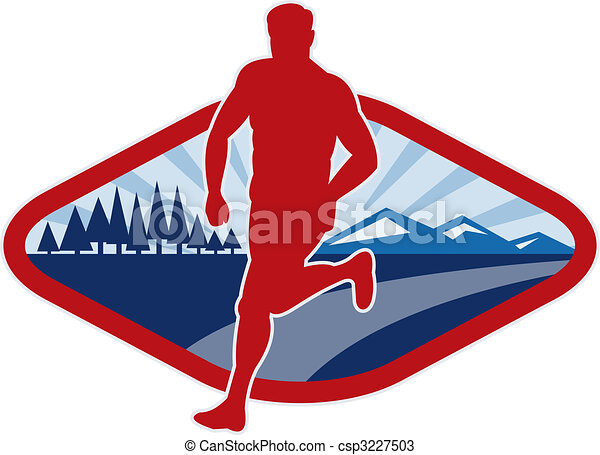 Cross country runner with landscape and sunburst - csp3227503