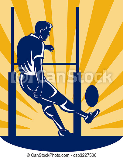 rugby player kicking at goal post - csp3227506