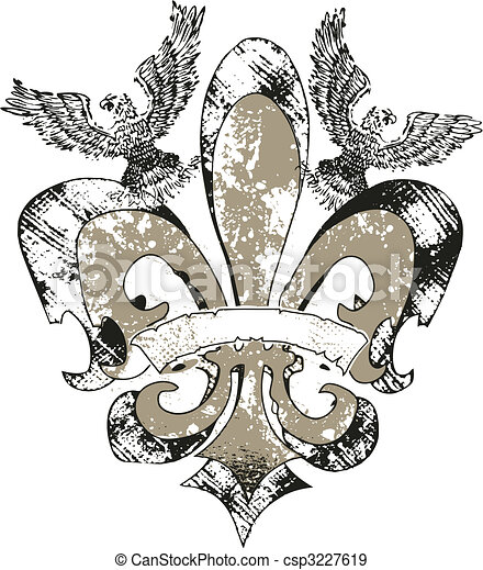 eagles on fleur de lis emblem - csp3227619