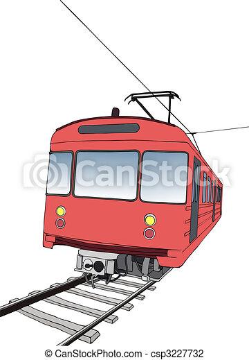 Red subway or metro train  - csp3227732