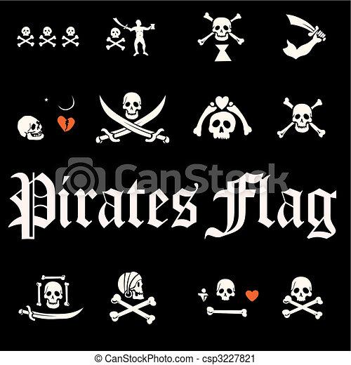 A set of pirate flags, skulls and bones illustration  - csp3227821