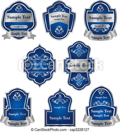 Set of vintage silver labels - csp3228127