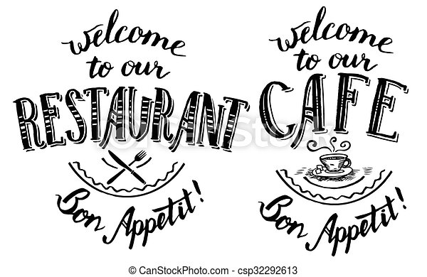 Vector Clip Art of Welcome to our restaurant and cafe lettering ...
