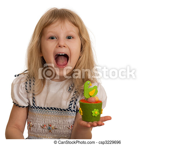 Expressive little girl with Easter toy - csp3229696