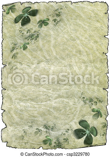 old rough antique parchment paper scrolls with shamrock - csp3229780