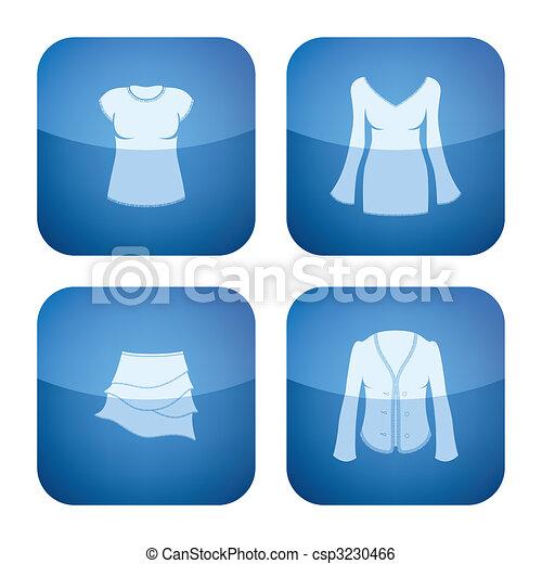 Cobalt Square 2D Icons Set: Woman's Clothing - csp3230466