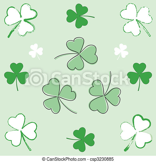 Paintbrush and hand-drawn shamrocks - csp3230885