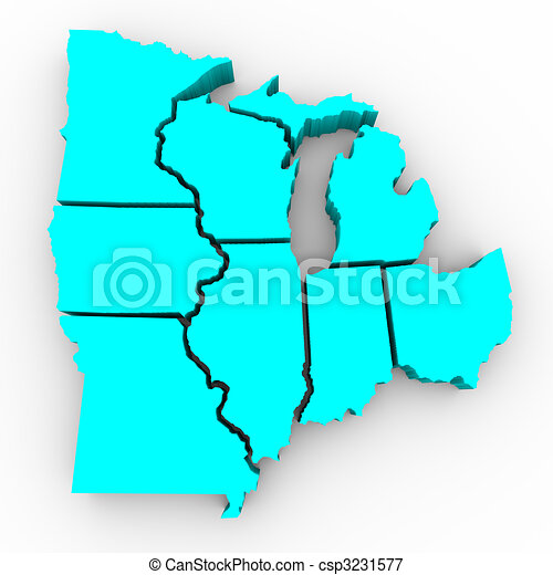 Great Lakes Region of States - 3d Map - csp3231577