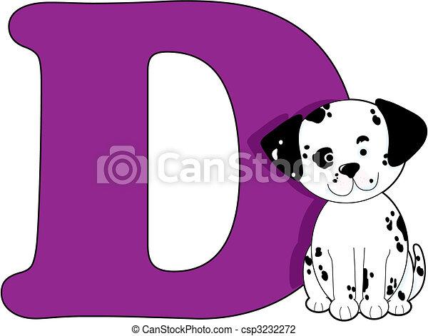 vector illustration of letter d with a dog csp3232272. Black Bedroom Furniture Sets. Home Design Ideas