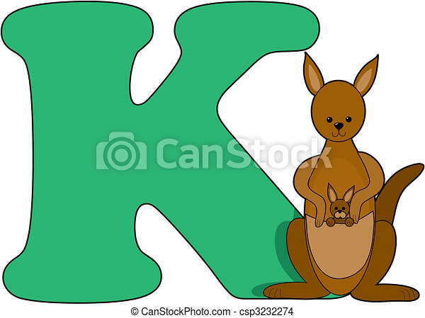 Letter K with a Kangaroo - csp3232274
