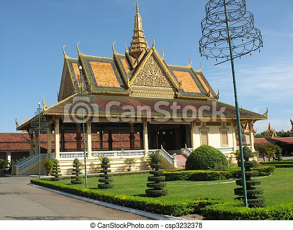 edificios, parque, real, Phnom, penh - csp3232378