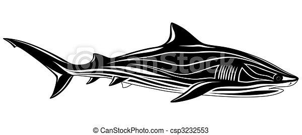 Shark, tattoo - csp3232553
