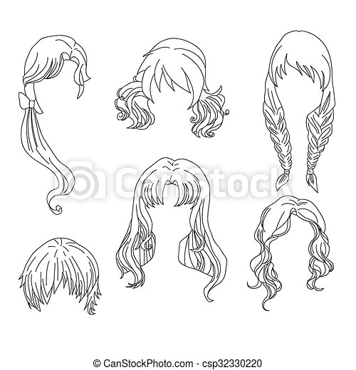 Hair styling for woman drawing Set 4 - csp32330220