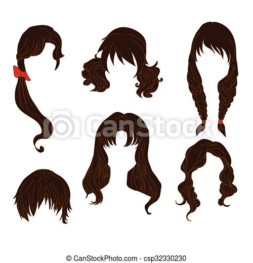 Hair styling for woman drawing Brown Set 4 - csp32330230